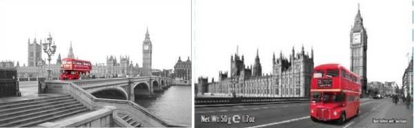 Foto eines roten Londoner Busses vor dem Big Ben